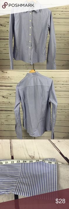 J crew men's dress shirt XL Handsome blue with white stripes dress shirt by j crew! You will love how formal and yet comfortable this shirt feels. J. Crew Shirts Dress Shirts