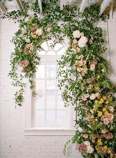 Indoor Spring floral installation by Loop Flowers. Floral Backdrop, Floral Arch, Floral Wedding, Wedding Flowers, Spring Wedding Inspiration, Garden Inspiration, Garden Wedding Decorations, Decor Wedding, Wedding Attire