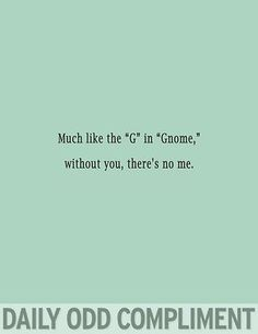 """Much like the """"G"""" in """"Gnome,"""" without you, there's no me."""