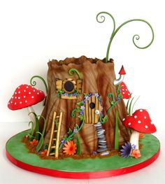 Adorable! #Cute #Tree #Cake!  With cute toadstools, ladder, windows and door!