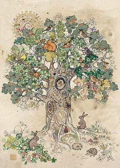 A Mighty Oak - Bug Art greeting card