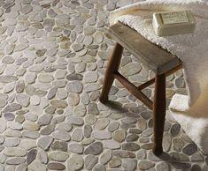 Pebble Mosaic Tile, Mosaic Bathroom, Bathroom Floor Tiles, Mosaic Wall, Bathroom Cabinets, Mosaic Floors, Asian Bathroom, Bathroom Bath, Bathroom Layout