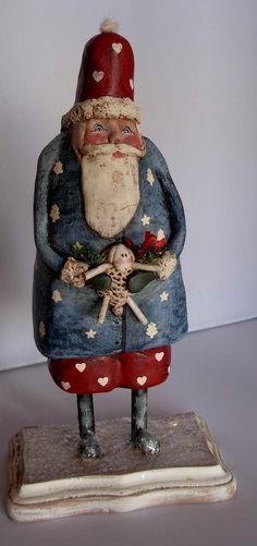 <h1<p>>BOY HOWDIE PAPIER MACHE FOLK ART by Dawn Tubbs</h1>Sculped Christmas Folk Art, Santa, Sheep