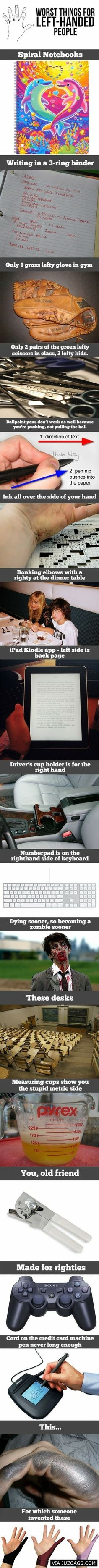 Worst things for left-handed people - Via: JuzGags.com