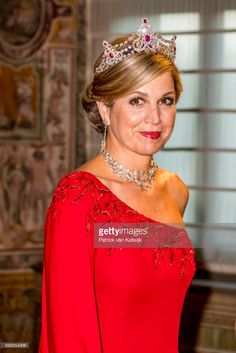 Queen Maxima of The Netherlands attend the official state banquet presented by President Sergio Mattarella and his wife Laura Mattarella at the Palazzo del Quirinale during the first day of a royal state visit to Italy at  on June 20, 2017 in Rome, Italy. (Photo by Patrick van Katwijk/Getty Images)