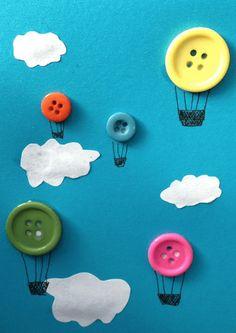 Quiet book page - Button Hot-air Ballon Kids Crafts Preschool Crafts, Fun Crafts, Arts And Crafts, Paper Crafts, Button Crafts For Kids, Preschool Transportation Crafts, Transportation Unit, Easy Kids Crafts, Simple Crafts