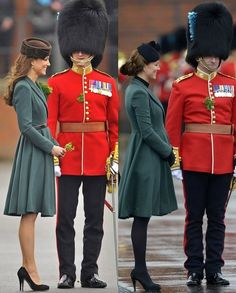 Catherine Duchess of Cambridge, aka Kate Middleton, in 2012 and 2013 celebrating St. Patrick's Day with the Irish Guards at the Mons Barracks, Aldershot. She's wearing the same dress/coat as last year by Emilia Wickstead, John Lock 'Fairy Tale' hat, and Episode 'Angel' shoe in suede. 3/17/13