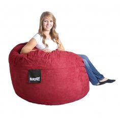 4 Foot Cinnabar Red Microsuede Foam Beanbag SLACKER sack chair like Love Sac Gaming Chair LoveSac Large 4' round chair- 1 Person/2 Small Children. Upgraded MicroSuede (Microfiber) Cover is removable & machine washable. Filled with our top of the line Shredded Polyurethane and Durafoam blend. Includes inner liner that contains the foam. Only the highest quality materials!!!  Perfect piece for a bed... #SLACKERSack #Home
