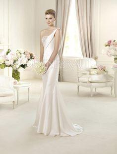 Einschulter Applikation Taft Prinzessin Hochzeitskleid mit Pinsel-Schleppe [#UD8670] - schoenebraut.com