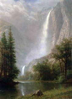 The Athenaeum - Yosemite Falls (Albert Bierstadt - ) Western Landscape, Fantasy Landscape, Landscape Art, Landscape Paintings, Fantasy Art, Albert Bierstadt Paintings, Hudson River School Paintings, Yosemite Falls, Autumn Painting