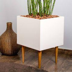 Cachepot Box com Pés Palito Branco - Estilare Móveis | Lojas KD