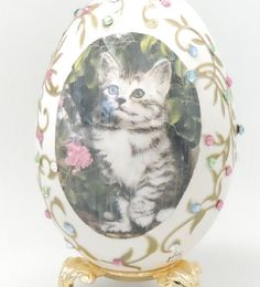 Sweet Tabby Cat on Decorated Goose Egg by NatalieOrigStudio on Etsy