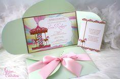 New to SDezigns on Etsy: Carousel Glam Birthday Invitation | First Birthday | Soiree | Bat Mitzvah | Baby Shower | Sparkle | Glitter | Horse | Mint | Pink | Gold (7.50 USD)
