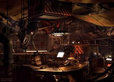 Cyberpunk. Rebel hacker workshop. Underground bunker HQ.