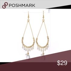 Clear Quartz  Swarovski crystals and gold earrings Crystal AB Swarovski Crystals on an approximately 1 inch across hoop by 3 long with Clear Quartz precious stone drops pierced earrings. Very Hot! Jewelry Earrings