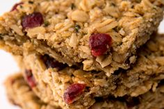 These sweet cranberry bars are gluten-free and full of healthy ingredients like coconut oil, cranberries and oats.