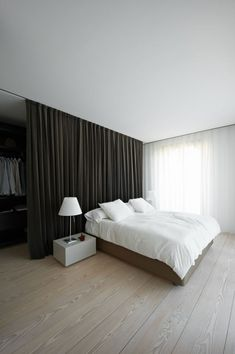 How To Create Dreamy Bedrooms Using Bed curtains bedroom – curtains divide space (see rest of home) – good idea for boys room – maybe [. Closet Behind Bed, Curtains Behind Bed, Bed Curtains, Bed In Closet, Closet Curtains, Canopy Beds, Camo Curtains, Closet Space, Ceiling Curtains