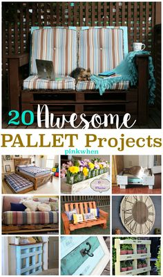 TWENTY of some of the  most amazing pallet projects. Big or small,  you should find a little pallet inspiration here.