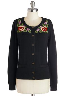 Horticulture Club Cardigan by Knitted Dove - Black, Red, Green, Pink, White, Buttons, Embroidery, Long Sleeve, Knit, Mid-length, Pockets, Fo...