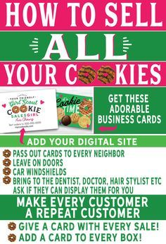 Give out these business cards with every box sold for repeat customers! Selling Girl Scout Cookies, Girl Scout Cookie Sales, Brownie Girl Scouts, Scout Mom, Daisy Girl Scouts, Cub Scouts, Girl Scout Daisy Activities, Girl Scout Crafts, Girl Scout Leader
