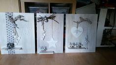 Drie kerstborden zelf gemaakt.