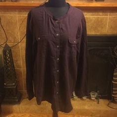 Womens GAP Cotton button down tunic. NWOT Womens GAP Cotton button down tunic. NWOT color is Plum, machine washable cold water. Never worn. Length 33 inches, chest 25 inches armpit to armpit. NWOT GAP Tops Tunics