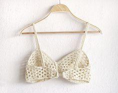 Crochet Bikini Top in White, Crochet bra, Boho Bridal Lingerie, Crochet…