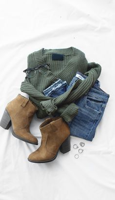 Love the color of this sweater, jeans could be a darker wash, and I love boots!