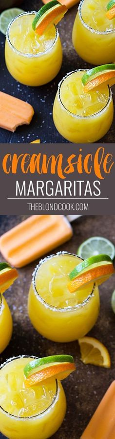 Creamsicle Margaritas - Tequila, whipped vodka, orange juice, triple sec and lime juice come together in the ultimate creamy orange margarita! #tequiladrinks