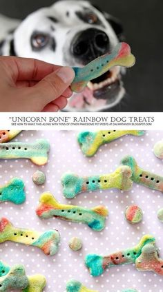 "DIY Dog Treat Recipes + Instructions: Homemade ""Unicorn Bone"" Rainbow Marbled Dog Treats"