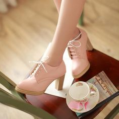 Lace-Up Heeled Oxfords