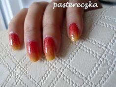 Pasterka: Fire ombre nails. Gradient tylko dwa lakiery. Metoda gąbki