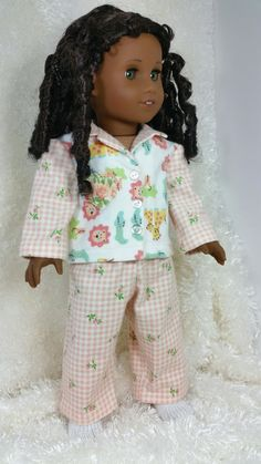 Doll Clothes, Cozy Flannel P.J.'s with Slipper Socks, American made to fit 18 inch Girl Dolls