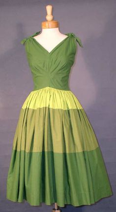 AWESOME Tri-Tone Green Cotton 1950's Sun Dress  Item vc2432 ... Price: $120 SOLD