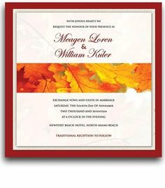 50 Square Wedding Invitations - Autumn Morning Fresh by WeddingPaperMasters.com. $179.50. Now you can have it all! We have created, at incredible prices & outstanding quality, more than 300 gorgeous collections consisting of over 6000 beautiful pieces that are perfectly coordinated together to capture your vision without compromise. No more mixing and matching or having to compromise your look. We can provide you with one piece or an entire collection in a one stop shopping exp...