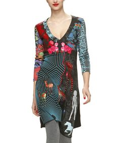 Take a look at this Black & Teal Graphic Dress - Women by Desigual on #zulily today!