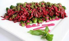 Purple Pasta with Walnut Pesto & Tenderstem Broccoli