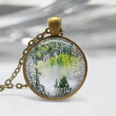 Winter Evergreen Forest Tree Pendant, Resin Pendant, Picture Pendant, Resin Jewelry C118
