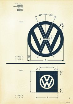 "The original Volkswagen ""VW"" logo trademark design specifications Logo Design, Identity Design, Typography Design, Web Design, Brand Identity, Visual Identity, Design Art, Logo Guidelines, Design Guidelines"