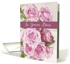 Happy Birthday in Lithuanian, Su Gimimo Diena, Pastel painting Roses card