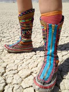 From the Craftster Community: rainbow ribbon boots for Burning Man wedding - CLOTHING  AWESOME boots, wish I could make myself a pair!