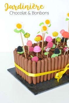My Easter Cake . Candy and chocolate planter / Around Cia - Beauty & Lifestyle Bordeaux . Gravity Cake, Candy Cakes, Salty Cake, Savoury Cake, Cakepops, Food Design, Clean Eating Snacks, Cake Designs, Sugar Cookies