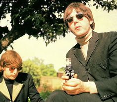 John and Paul taking a break during the filming of Paperback Writer. May 1966
