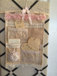 Altered art wall Hanging wall organizer mixed media wall tidy pink vintage lace doileys and pockets