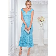 Venus Women's Long Lace Formal Dress ($60) ❤ liked on Polyvore featuring dresses, blue, long length maxi dresses, venus dresses, lace maxi dress, lacy dress and blue formal dresses