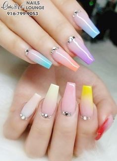 Nail salon 95630 - Ombre Nails Lounge - Nail Salon in Folsom CA 95630 Acrylic Nails Pastel, Summer Acrylic Nails, Best Acrylic Nails, Spring Nails, Summer Nails, Stylish Nails, Trendy Nails, Cute Nails, Coffin Nails
