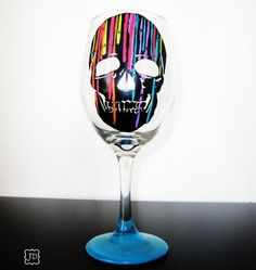Skull Candy   1 wine glass  hand painted  colorful  by Jdboutique, $22.00