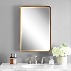 All Mirrors in Modern and Traditional Design | Uttermost Gold Vanity Mirror, Antique Gold Mirror, Bronze Mirror, Beveled Mirror, Wall Mirror, Gold Mirrors, Gold Bathroom, Master Bathroom, Vanity Bathroom