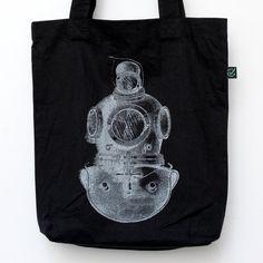 Deep Sea Diver Black Cotton Tote Bag Ecofriendly & by UrbanPrey, €12.00