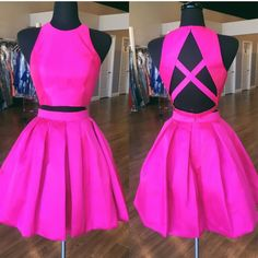 two piece homecoming dress,party outfit,hot pink dress,cute prom dresses,short prom gowns